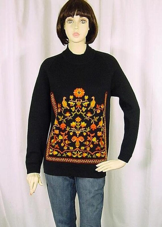 Vintage Black Ethnic Wool Tunic Sweater - Small to Medium