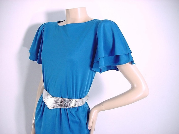 ON SALE - Vintage 1970s Royal Blue Flutter Sleeve Dress with Space Age Silver Belt  - Small to Medium