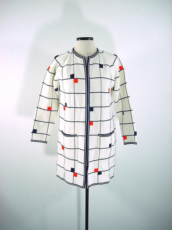 Vintage 60s MOD Color Block Artsy Sweater Coat
