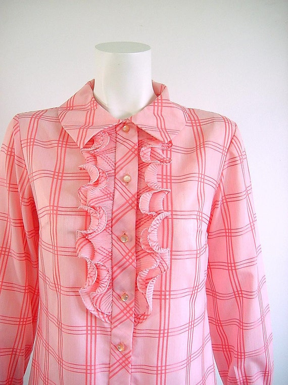 1960s Vintage Pink Origami Ruffle Shirt Dress - Medium to Large