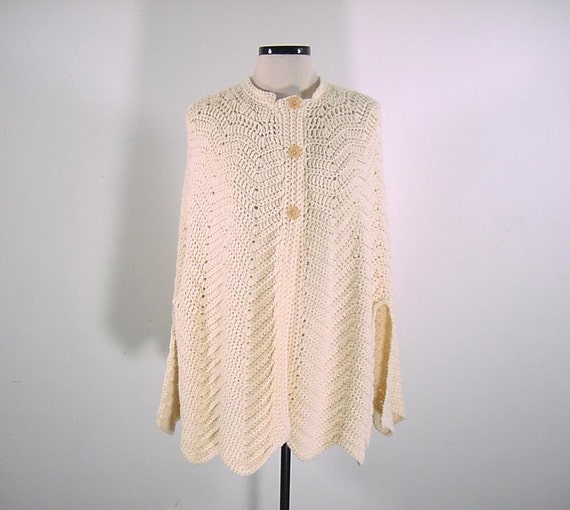Vintage Crochet Cape Sweater - Cream Color Hand Knitted
