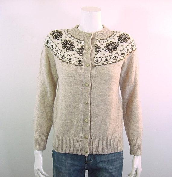 1970s Vintage Wool Cardigan Sweater Fair Isle Nordic - Small to Medium