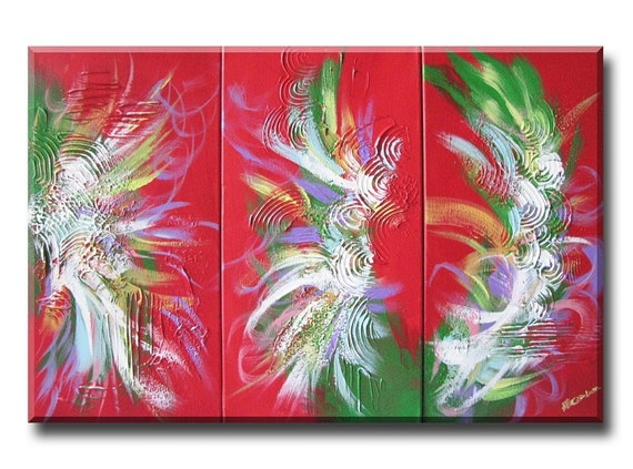 Chinese Dragon Art Painting - red abstract art - spring festival art - chinese painting - mixed media art