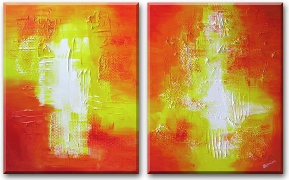 Two 24 by 36 diptych sunset sunrise landscape abstract art