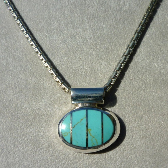 ON SALE Southwestern Turquoise Sterling Silver Pendant Necklace