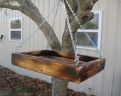 Wood Bird Feeder On Adjustable Chain - Rustic Garden Decor