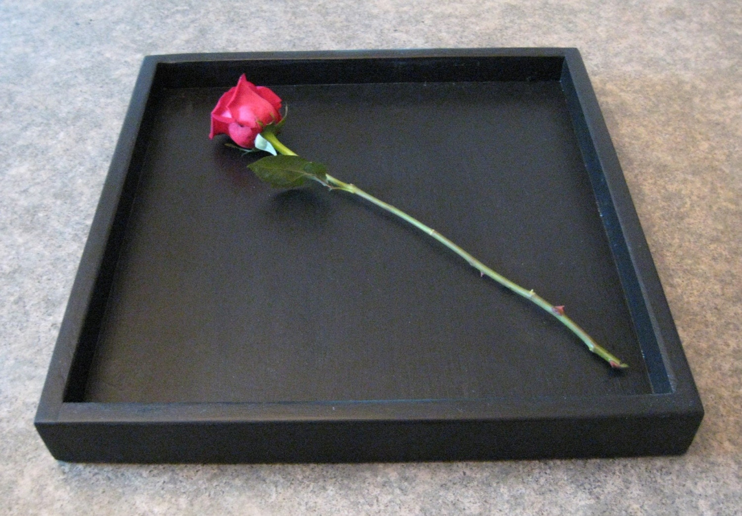 Black Wood Serving Tray for Coffee Table Or Kitchen Counter