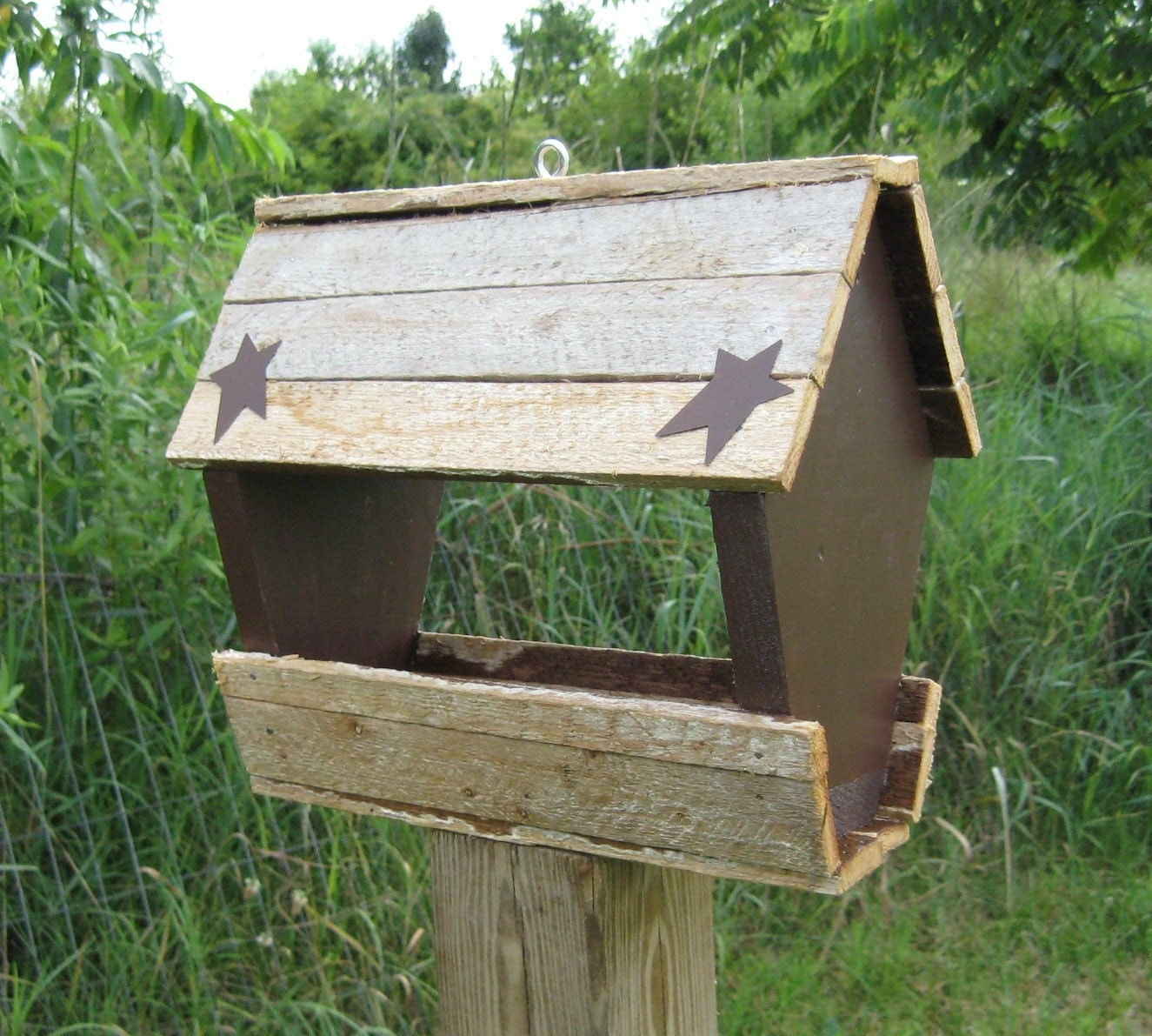 Hand made rustic bird feeder from reclaimed wood