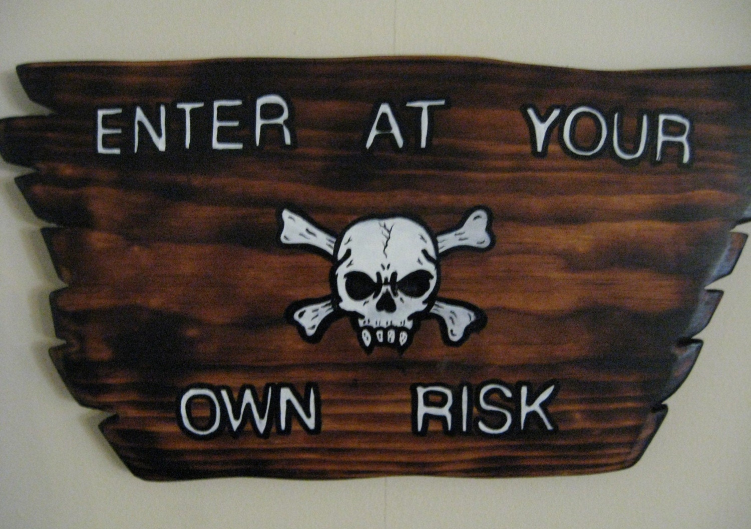 Enter At Your Own Risk Torched Signwith Skull