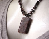 Dark Brown and Purple Glass Necklace with Rectangular Amethyst Pendant