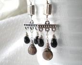 Black Stone, Smoky Quartz Briolette and Sterling Silver Chandelier Earrings