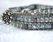 Grey, Icy Blue Czech Glass Bead and Waxed Cotton Wrap Bracelet