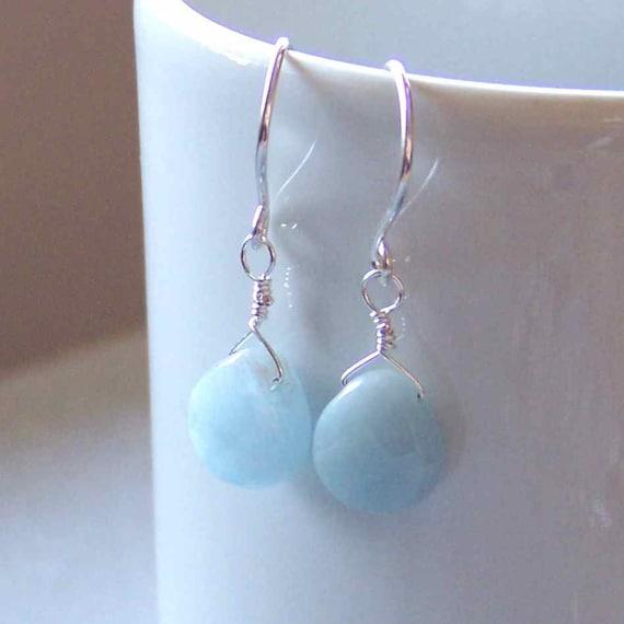 Aquamarine Pear Briolette Drop Earring