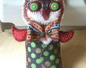 Original folk art Owl Doll primitive whimsical OOAK