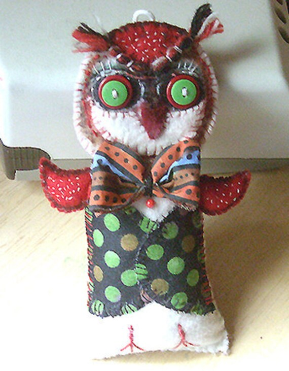 Original folk art Owl Doll primitive whimsical OOAK
