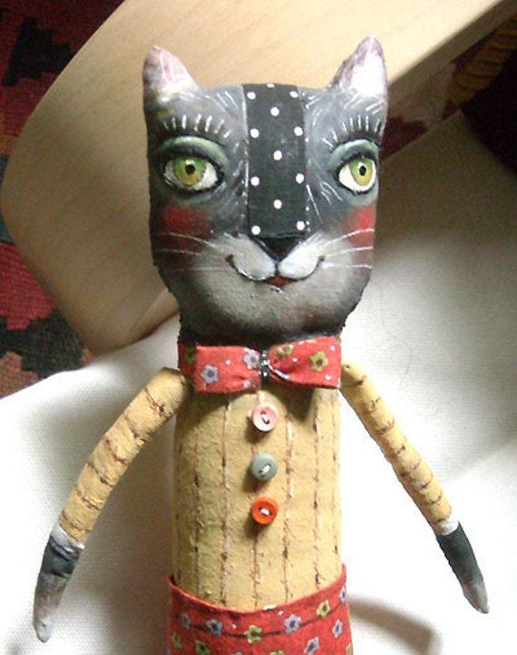 Original art doll folk art Black Cat boy with red pants whimsical OOAK from miliaart