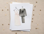 Bride & Groom Card / Paper Wedding Dress and Tuxedo Card