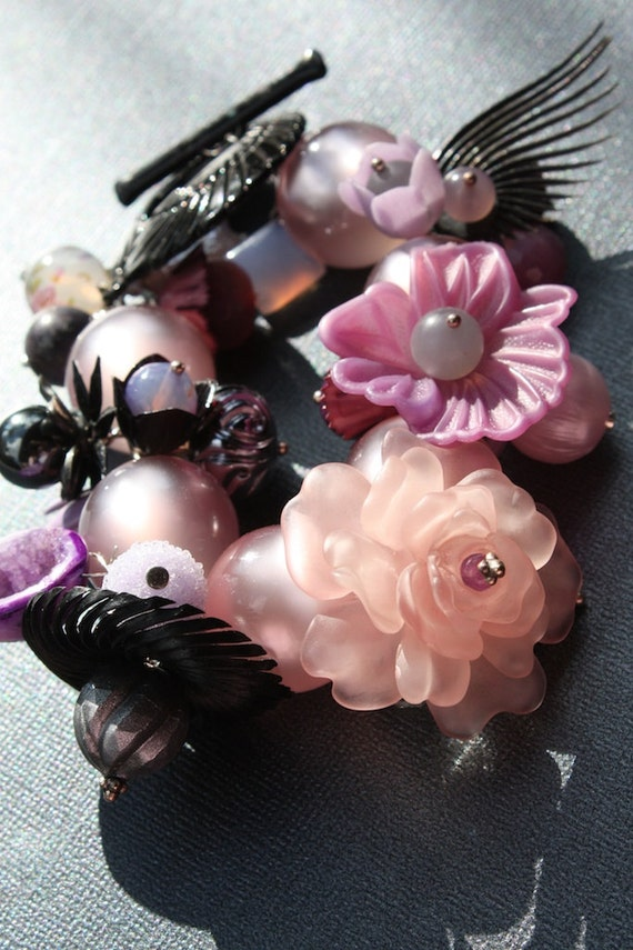 Lavender and Black Retro Floral Charm Statement Bracelet