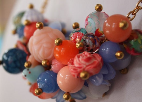 Floral Bouquet Charm Necklace in Blues and Corals