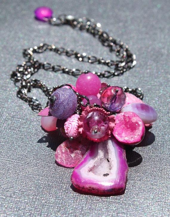 Purple & Pink Floral Bouquet Necklace