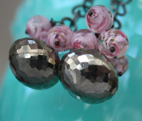 Golden Kisses - Pyrite and Venetian Glass Drop Earrings