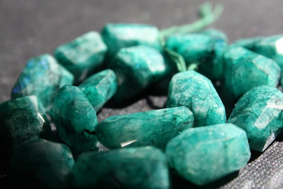 RARE Sea Green Moonstone Nuggets - 1/2 Strand