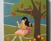 Original Vintage Retro Mod Collage Art on Canvas - Swing Higher - 8x10