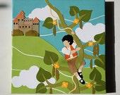 "Jack and the Beanstalk - Original Retro Modern Collage on Canvas - 10""x10"""