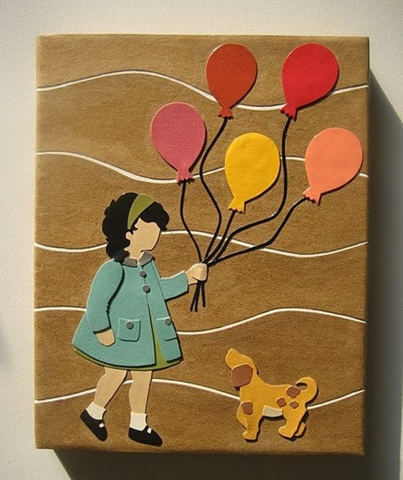 Balloons - Original Retro Modern Inspired Collage on Canvas