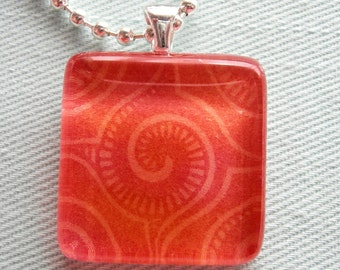 SALE - Swirl Glass Tile Necklace
