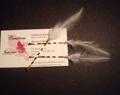 Set of 3 White wedding hair Feather Bobby Pins