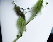 Green Feather Necklace - Earrings Includes