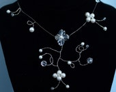 Wedding Flower Necklace - Earrings Includes