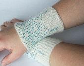 Handspun hand knitted   wrist warmers, beaded, pure alpaca yarn Made to order