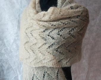 Mohair shawl, mohair scarf, handknit scarf, wool shawl, knitted wrap, hand knitted mohair shawl, light brown Ready to ship