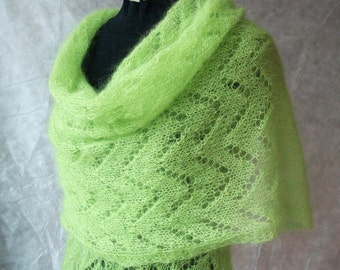 Hand knitted mohair shawl -  handmade evening scarf - mohair silk green shawl - wedding stole - bride shawl