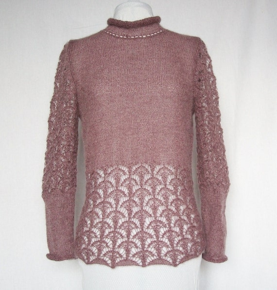 Handknitted soft mohair spring autumn lace sweater Made to order