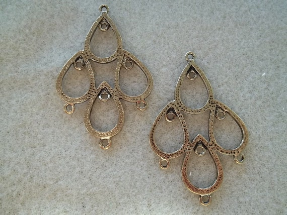 Large Antique Gold Pewter Tear Drop (2 pack) Pair