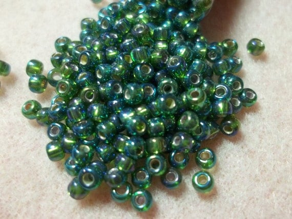 8/0 Silver Lined Olive AB Seed Bead 22 Grams