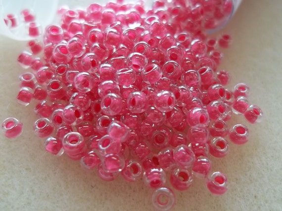 8/0 Carnation Pink Lined Seed Bead 22 Grams