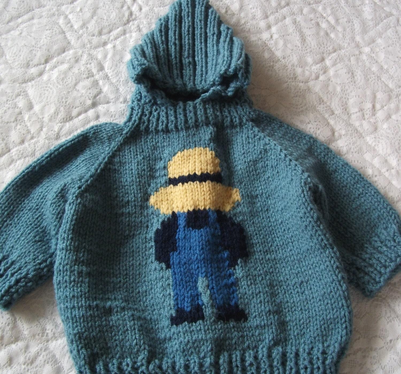 Knitting Pattern Baby Sweater Zipper Up Back : Farmer boy zip up the back hooded baby sweater
