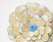 Blue Joy Paper Flower w/ Vintage Button - Gift Topper