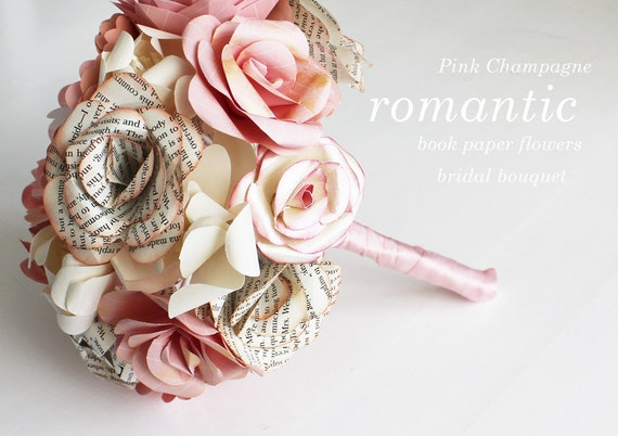 RESERVED FOR JUDY - Pink Champagne Book Roses - Bridal Bouquet and Boutonniere