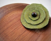 Green Felt Flower Hair Clip