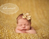 Simple Flower Headband in CARAMEL with Feathers - newborn photo prop