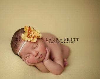 Simple Flower Headband in ORANGE - newborn photo prop