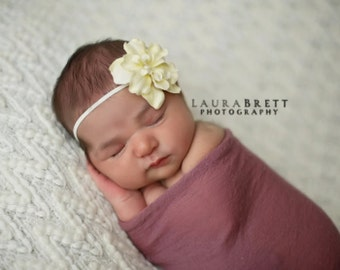 Skinny Cream Elastic Headband with Rustic Cream Flower - newborn photo prop