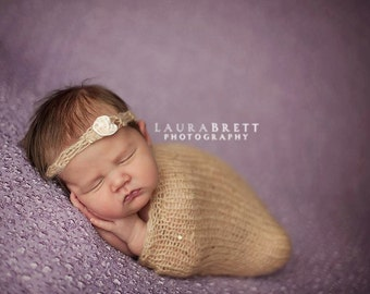 Fine Knit Baby Swaddle Sack and Headband in Natural, with Gold Sequins - newborn baby photo prop
