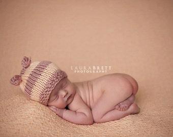 Little Ears Striped Beanie - newborn baby photo prop
