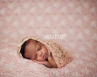 Loose Knit Thick Thin Organic Cotton Wrap in Pale Salmon - newborn baby photo prop